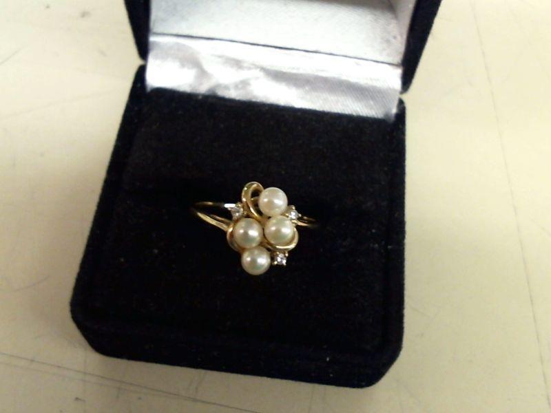 Synthetic Pearl Lady's Stone & Diamond Ring 3 Diamonds .03 Carat T.W.