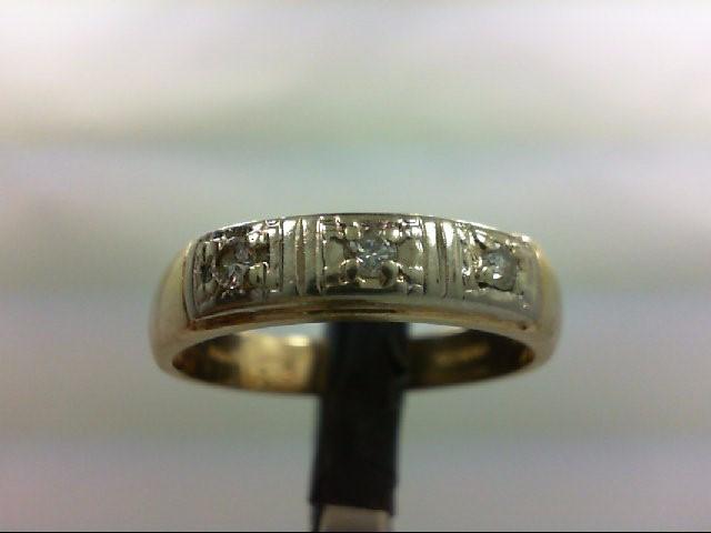 Gent's Gold-Diamond Wedding Band 3 Diamonds 0.21 Carat T.W. 14K Yellow Gold 4.9g