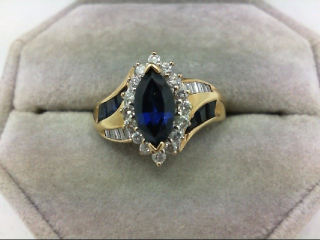 Sapphire Lady's Stone & Diamond Ring 26 Diamonds 0.42 Carat T.W. 10K Yellow Gold