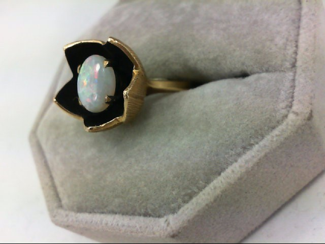 Opal Lady's Stone Ring 14K Yellow Gold 6.4g