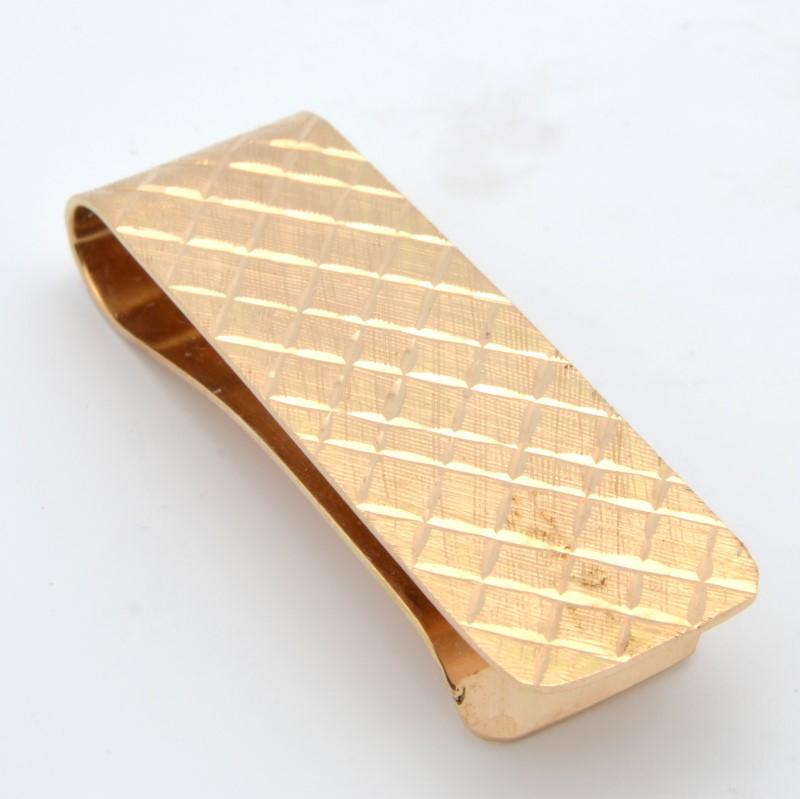 ESTATE MENS MONEY CLIP SOLID 14K YELLOW GOLD WEAVE DESIGN DECO FINE
