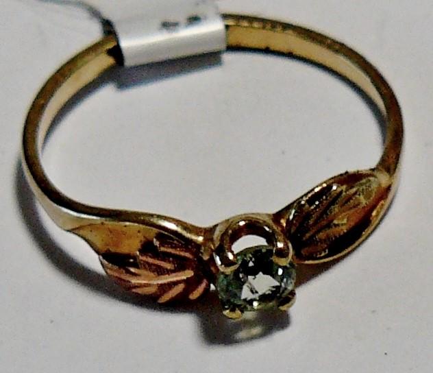 Stamper Black Hills Gold Ring w/Aqua Stone 10K Tri-color Gold 1dwt Size:6.5