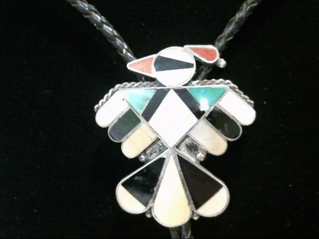 Silver Shell Turquoise Bolo Tie .925