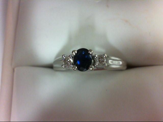 Sapphire Lady's Stone & Diamond Ring 2 Diamonds 0.1 Carat T.W. 10K White Gold 3.