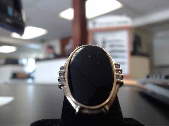 Synthetic Onyx Lady's Stone & Diamond Ring 6 Diamonds 0.12 Carat T.W. 14K Yellow