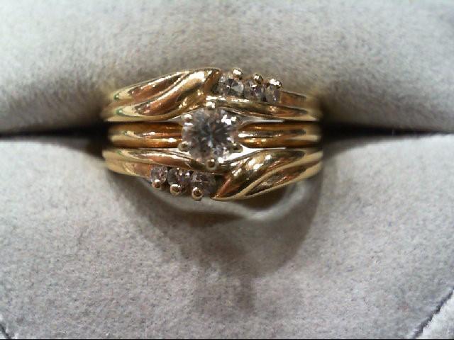 Lady's Diamond Wedding Set 7 Diamonds .28 Carat T.W. 14K Yellow Gold 7g