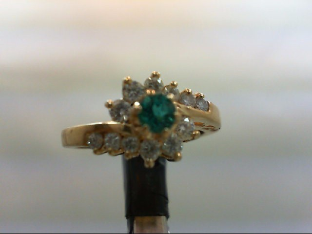 Emerald Lady's Stone & Diamond Ring 12 Diamonds 0.3 Carat T.W. 14K Yellow Gold 3