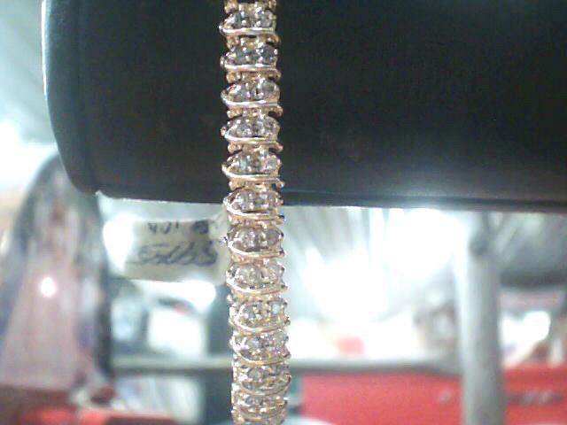 Gold-Diamond Bracelet 106 Diamonds 1.06 Carat T.W. 10K Yellow Gold 6dwt