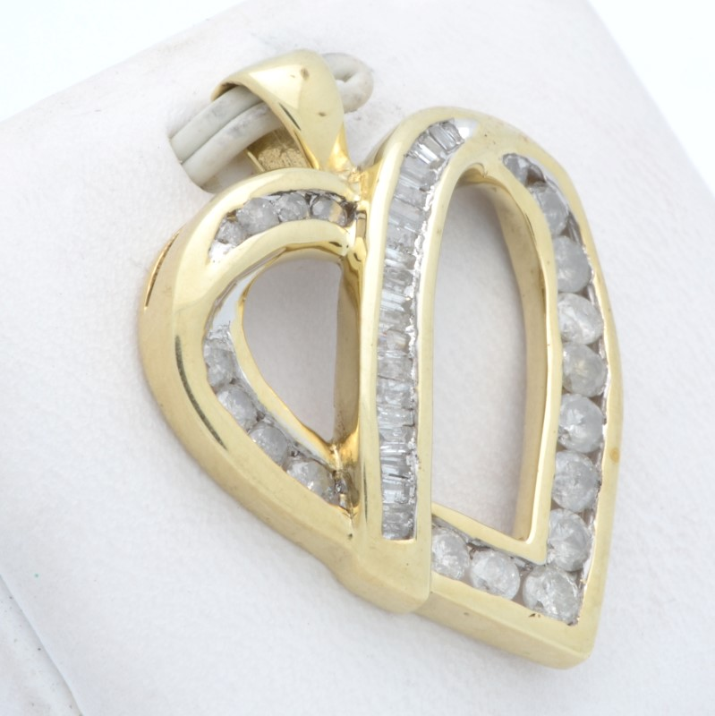 ESTATE DIAMOND HEART PENDANT CHARM SOLID 10K YELLOW GOLD LOVE FINE