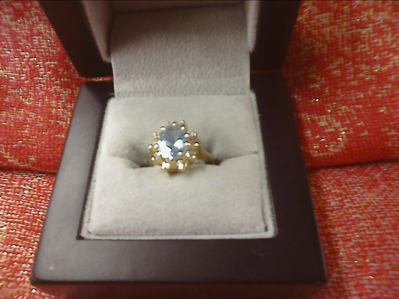 Synthetic Aquamarine Lady's Stone & Diamond Ring 10 Diamonds .30 Carat T.W.