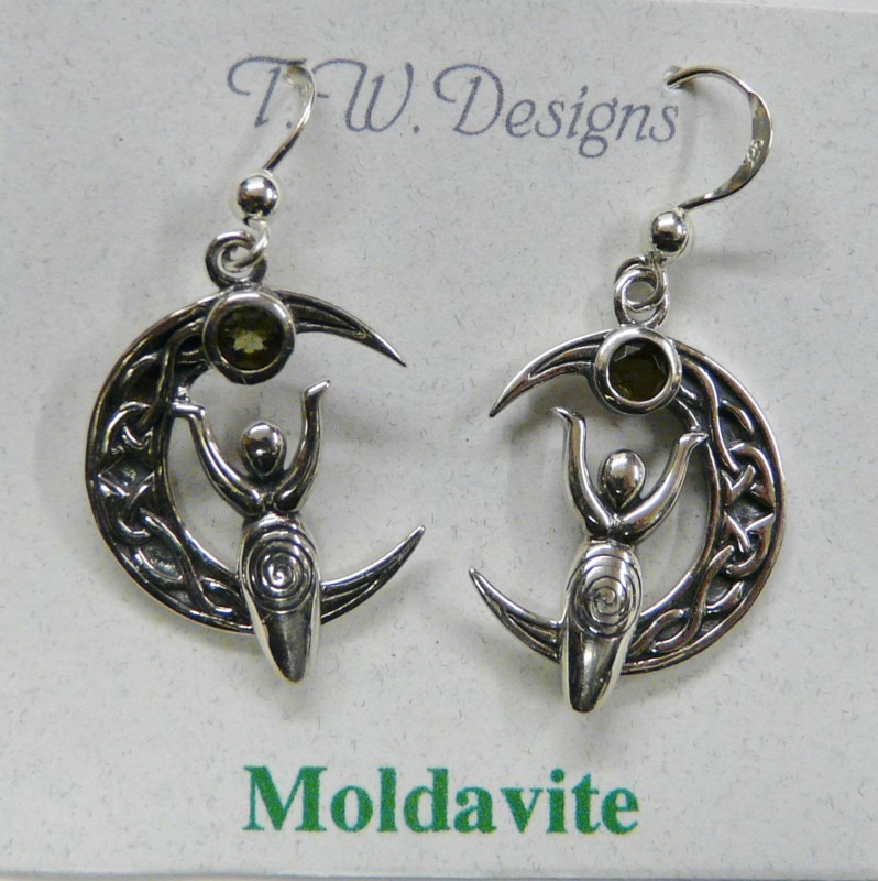 mOLDAVITE AND STERLING SILVER MOON WITH GODDESS EARRINGS
