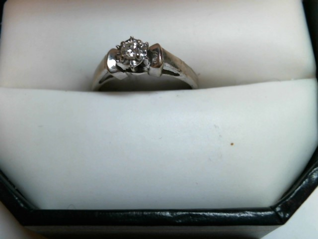 Lady's Diamond Solitaire Ring 2 Diamonds .20 Carat T.W. 10K White Gold 2.6dwt