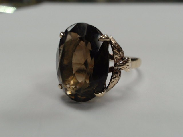 SMOKEY TOPAZ 18K YELLOW GOLD CUSTOM LADIES RING SIZE 9.5