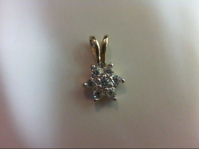Synthetic Cubic Zirconia Gold-Stone Pendant 10K Yellow Gold 0.6g