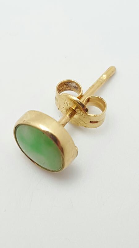 Jade Gold-Stone Earrings 14K Yellow Gold 0.6g
