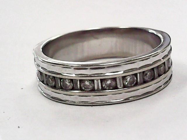 Lady's Diamond Wedding Band 9 Diamonds .27 Carat T.W. 14K White Gold 3.3dwt