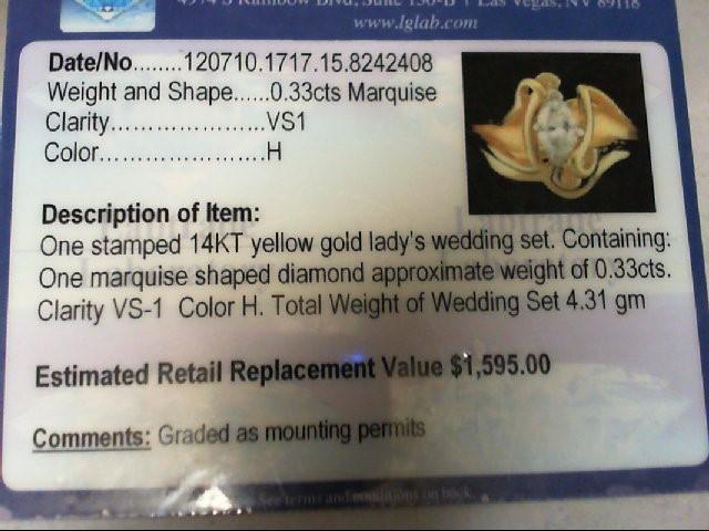 Lady's Diamond Wedding Set .33 CT. 14K Yellow Gold 4.31g