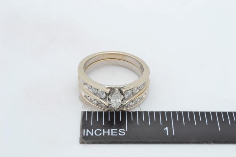 ESTATE DIAMOND WEDDING SET RING BAND SOLID 14K WHITE GOLD SIZE 6.75