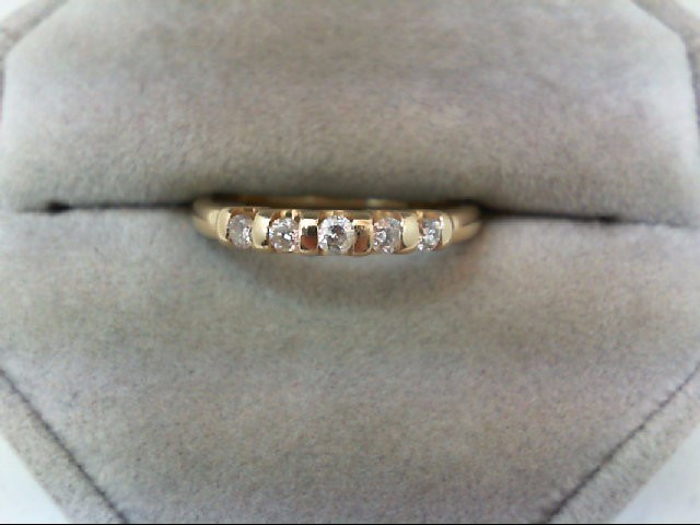 Lady's Diamond Wedding Band 5 Diamonds 0.18 Carat T.W. 14K Yellow Gold 2g