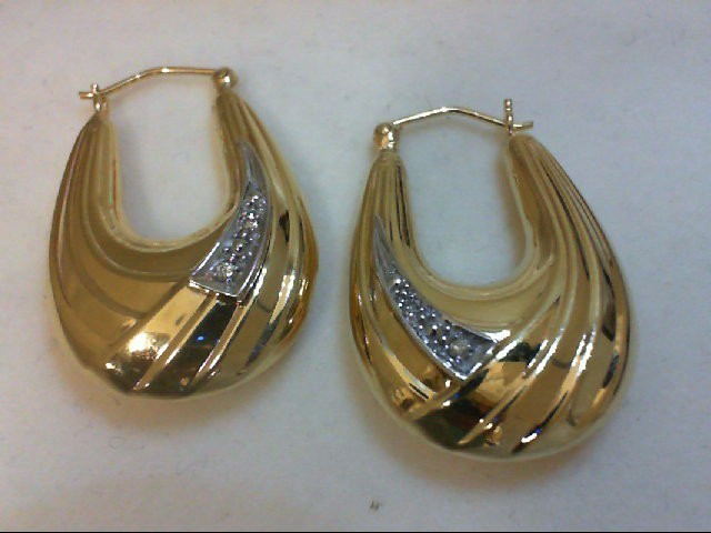 Gold-Diamond Earrings 4 Diamonds 0.04 Carat T.W. 14K Yellow Gold 4.5g
