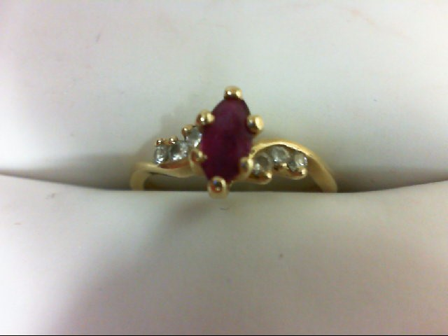 Ruby Lady's Stone & Diamond Ring 6 Diamonds 0.06 Carat T.W. 14K Yellow Gold 1.3g