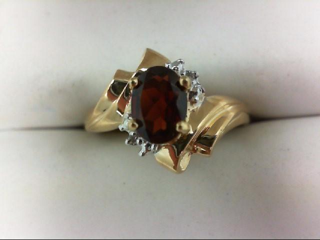 Almandite Garnet Lady's Stone Ring 10K Yellow Gold 1.9g
