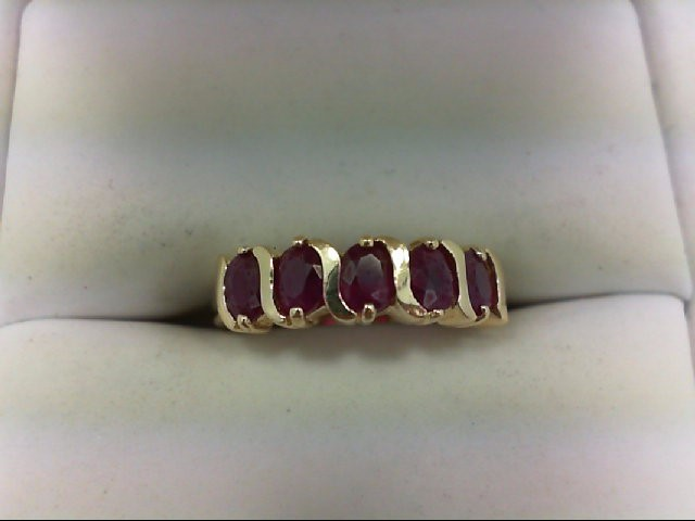Ruby Lady's Stone Ring 14K Yellow Gold 2.1g Size:5.75