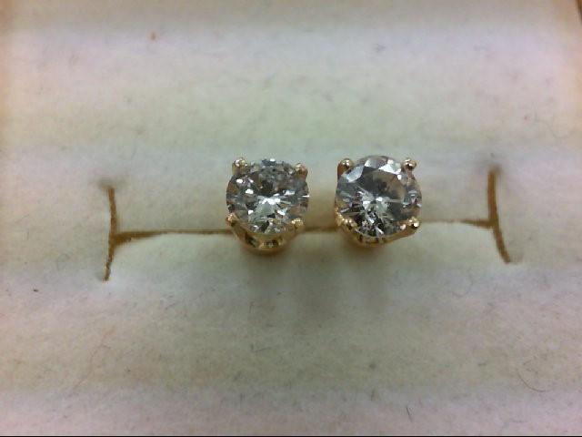Gold-Diamond Earrings 2 Diamonds .63 Carat T.W. 14K Yellow Gold 1g