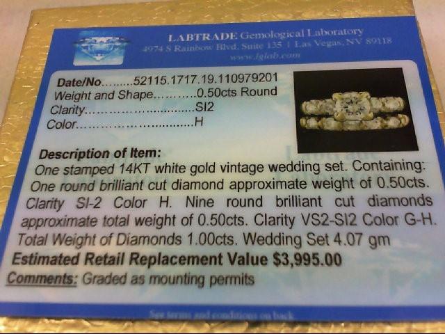 Lady's Diamond Wedding Set 10 Diamonds .95 Carat T.W. 14K White Gold 4.07g