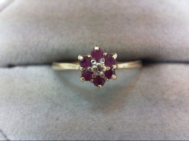 Ruby Lady's Stone Ring 10K Yellow Gold 1.2g