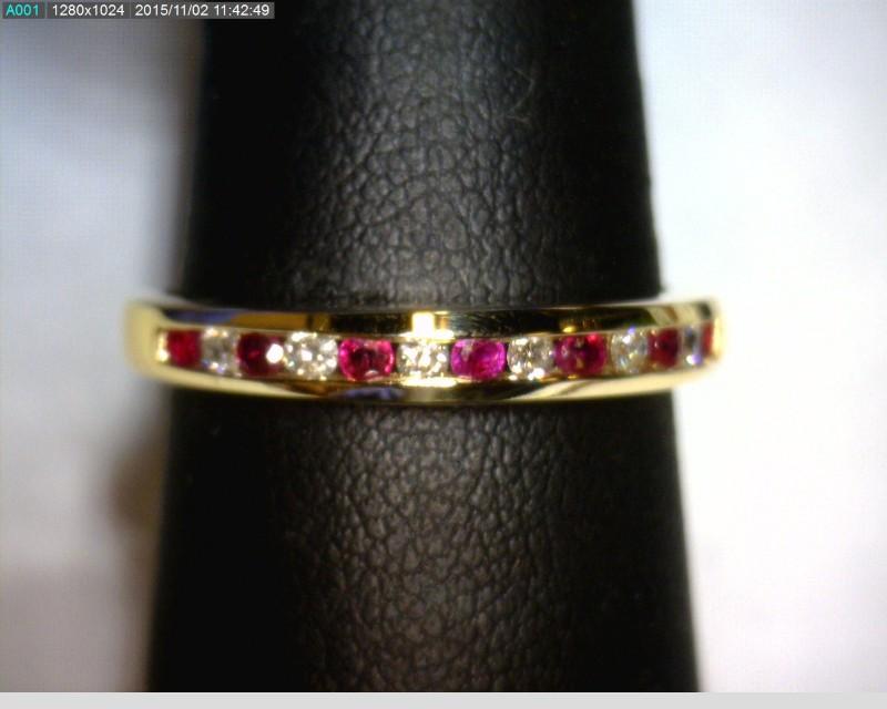 Ruby Lady's Stone & Diamond Ring 6 Diamonds .18 Carat T.W. 14K Yellow Gold