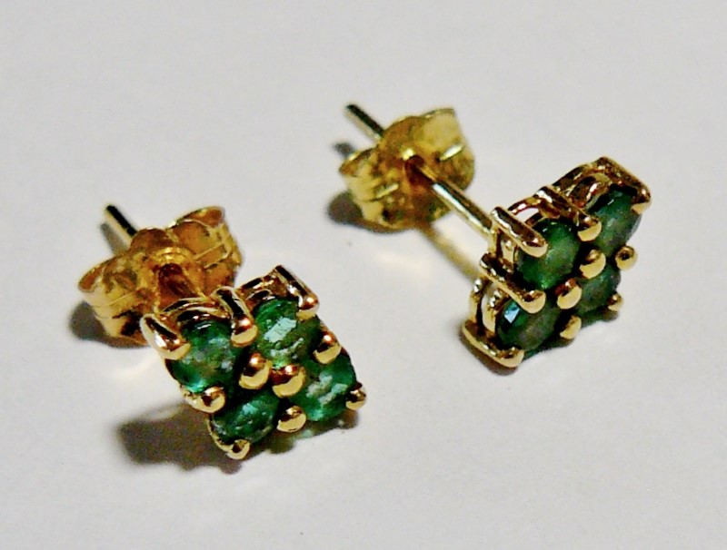 Diamond Shaped Emerald Earrings 14K Yellow Gold 0.6dwt