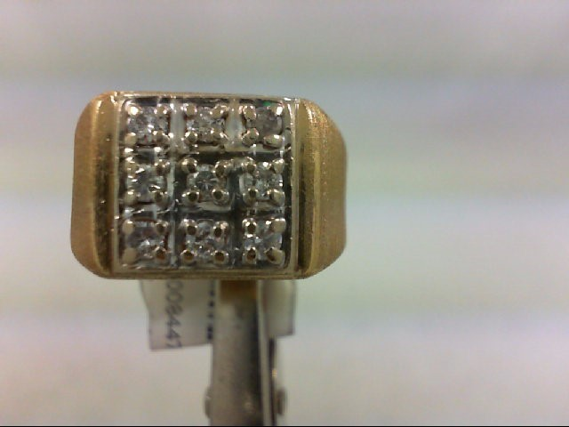 Gent's Diamond Fashion Ring 9 Diamonds .18 Carat T.W. 14K Yellow Gold 6.9g