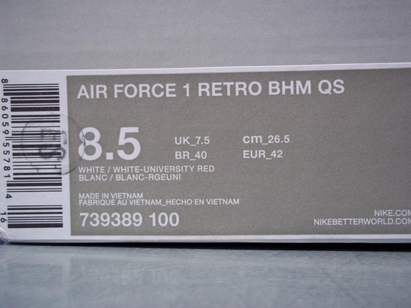 NIKE AIR FORCE 1 RETRO BHM QS SIZE 8.5 MENS SHOE
