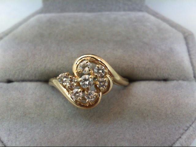 Lady's Diamond Cluster Ring 8 Diamonds 0.42 Carat T.W. 14K Yellow Gold 2.9g