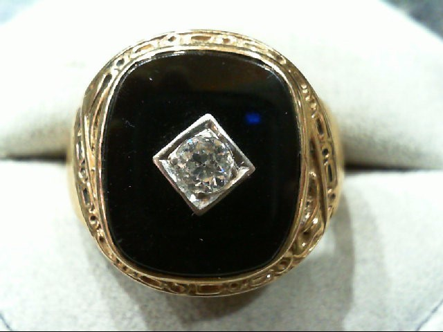 Gent's Diamond Solitaire Ring 0.3 CT. 10K Yellow Gold 7.2g