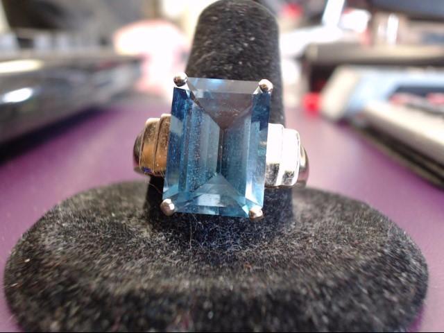 Blue Topaz Lady's Stone Ring 10K Yellow Gold 5g