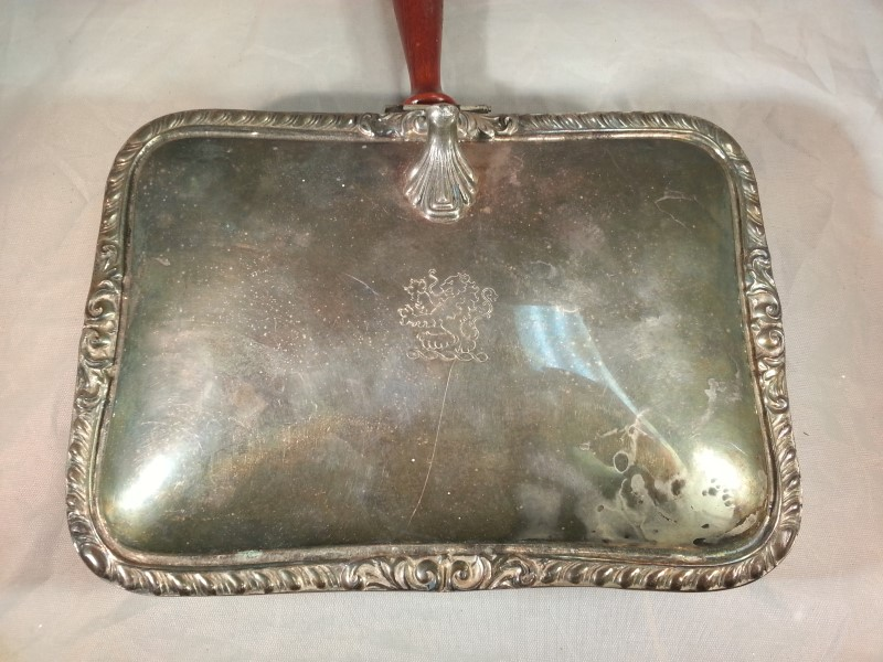 Antique Silver Plated Bedwarmer with Lion Crest, Beautiful Natural Patina