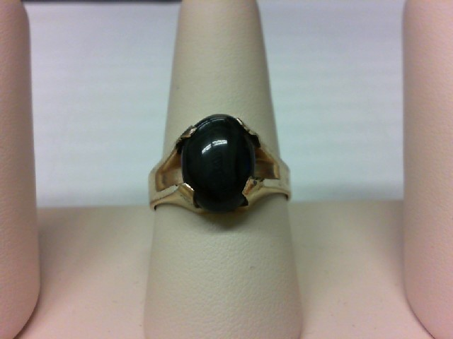 Black Stone Gent's Stone Ring 10K Yellow Gold 6.8g Size:8