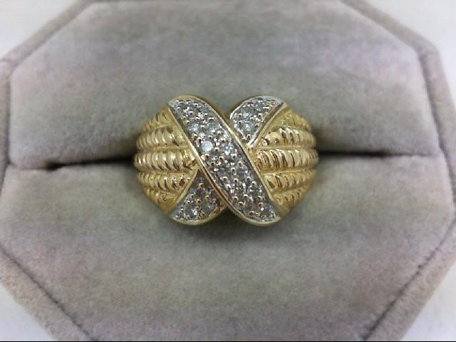 Lady's Diamond Cluster Ring 18 Diamonds 0.36 Carat T.W. 14K Yellow Gold 4.2g Siz