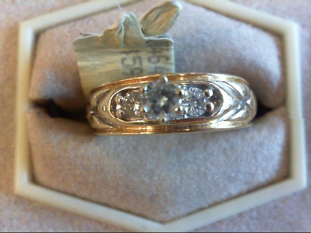Lady's Diamond Engagement Ring 3 Diamonds .26 Carat T.W. 14K Yellow Gold 4.3g