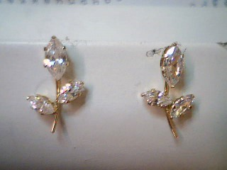 White Stone Gold-Stone Earrings 14K Yellow Gold 1.5g