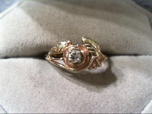 Lady's Diamond Fashion Ring .12 CT. 10K Tri-color Gold 1.8g
