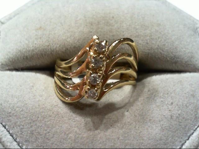Lady's Diamond Fashion Ring 4 Diamonds .12 Carat T.W. 14K Yellow Gold 4.5g