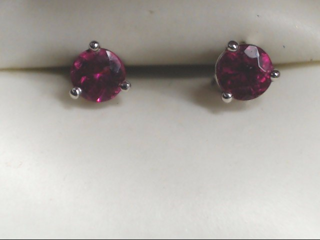 Pink Stone Gold-Stone Earrings 14K White Gold 1.1g