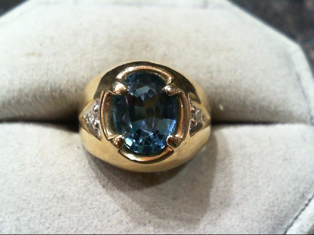 Synthetic Agate Gent's Stone & Diamond Ring 2 Diamonds .02 Carat T.W.