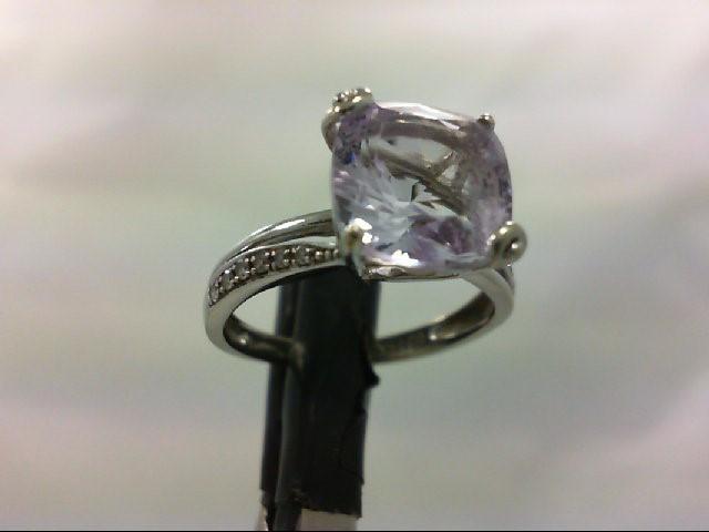 Amethyst Lady's Stone & Diamond Ring 12 Diamonds 0.12 Carat T.W. 14K White Gold