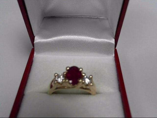 Ruby & 2 Diamonds .30 Carat T.W. 14K Yellow Gold Ring