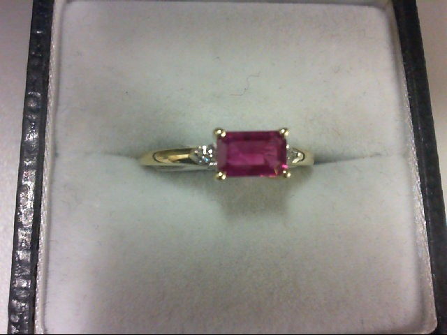 Ruby Lady's Stone & Diamond Ring 2 Diamonds 0.04 Carat T.W. 10K Yellow Gold 1.1g