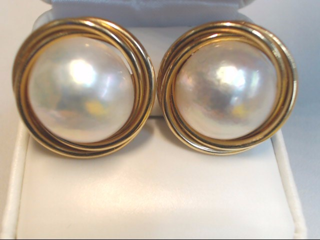 White Stone Gold-Stone Earrings 14K Yellow Gold 10.1g